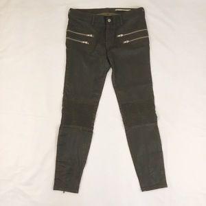 Zara Woman Faux Leather Moto Brown Jeans Sz 6